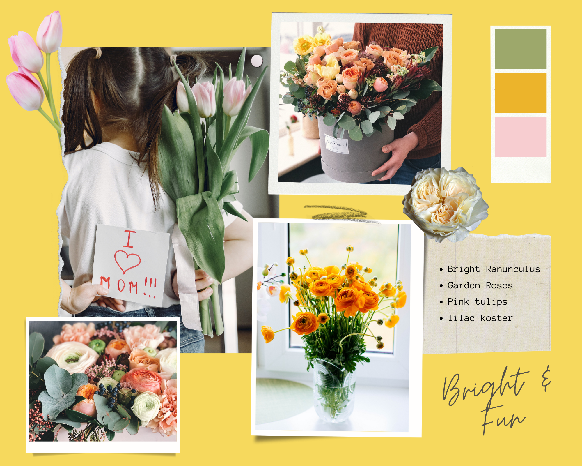 bright yellow moodboard mothers day