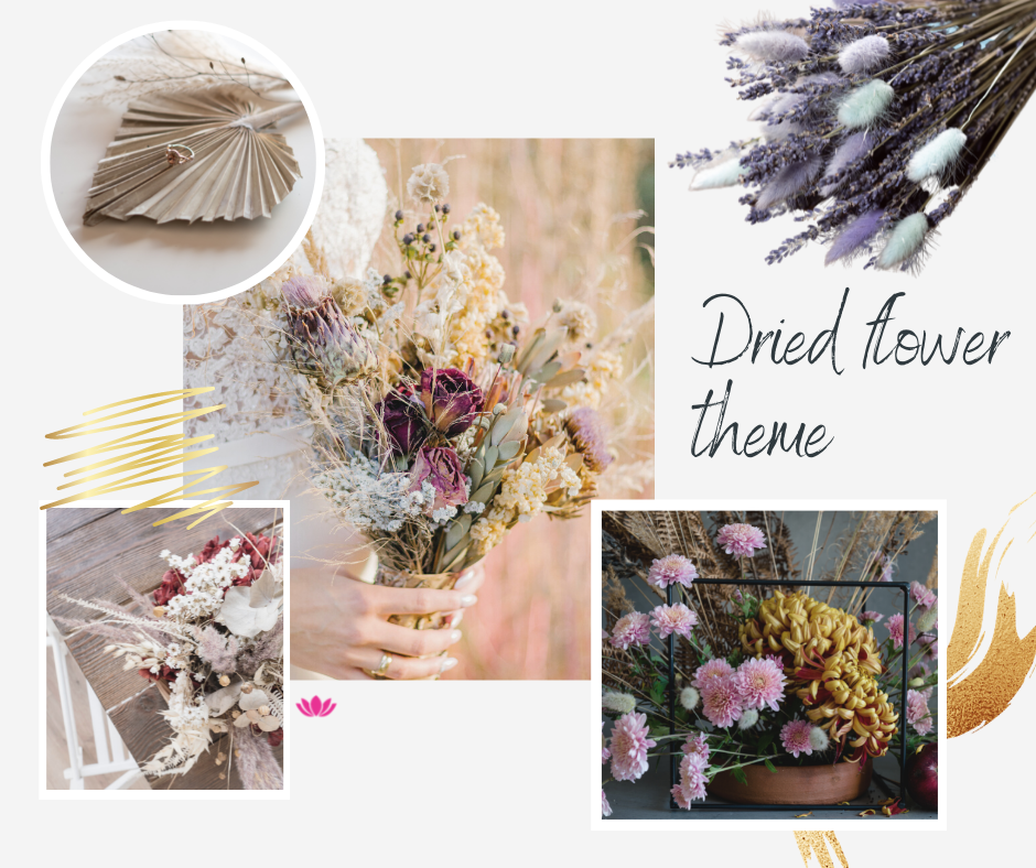 wedding inspiration moodboard drief flowers